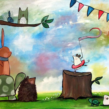 Whimsical Kids Wall Art, Woodland Nursery Painting, Mouse, Rabbit, Turtle, Hedgehog, Owl, Childrens Room Decoration, Acrylic Artwork