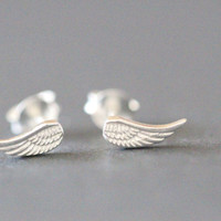 Angel Wing Earrings, Wing Stud Earrings,  Wing Earrings, Silver Wing Earrings, Simple Wing Earrings, Feather Cartilage, Angel Earrings
