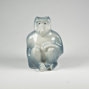 rare french art deco porcelain monkey figurine, early 20th century