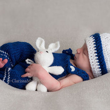 Newborn boy props, nautical boy crochet, sailor matching set, infant baby photo, crochet hat and pants, suspenders with cap, babies pictures