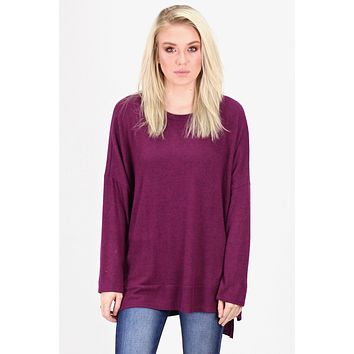 Brushed Hacci Oversized Sweater Tunic {Eggplant}