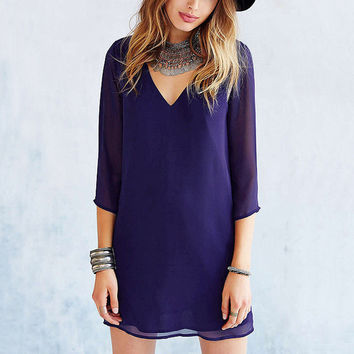 Newest Women Dress Sexy V Neck Backless Mini Chiffon Party Dresses 3/4 Sleeve Casual Dress Vestidos Plus Size