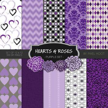 """Hearts & Roses Valentine Purple 12"""" x 12"""" Digital Paper and clip art set for scrapbooking, websites, blogs and more - INSTANT DOWNLOAD"""
