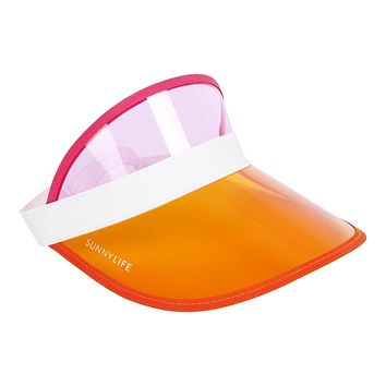 Retro Pink and Orange Sun Visor