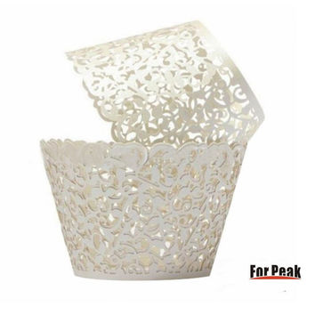 Cupcake Wrappers 100 Filigree Artistic Bake Cake Paper Cups Little Vine Lace ...