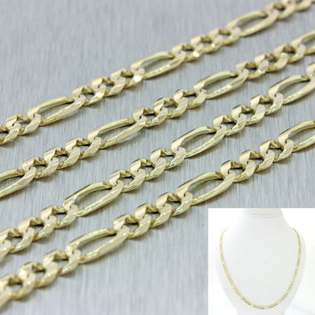 "Men's Women's Italy 14k Solid Yellow Gold 23"" Figaro 4mm Link Chain Necklace 15g"