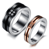 2 PCs-Titanium stainless promise rings,couple rings,wedding bands,lovers rings with man-made diamond