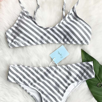 Cupshe Approaching Holidays Stripe Bikini Set