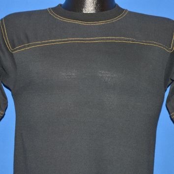 80s Blank Black Yellow Stitching Jersey Top t-shirt Small
