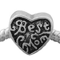 European Charm Metal Bead Heart Best Mom