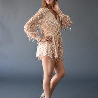 Long Sleeve Gold Embroidered Romper