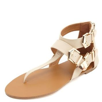 Gold-Tipped Belted Thong Sandals