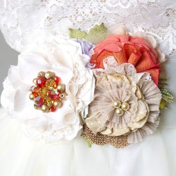 Floral Bridal Sash ~ Colorful Blossoms