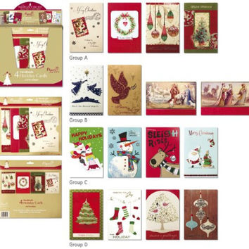 Papercraft Handmade Holiday Assorted 4 Card Value Pack - Single Pack