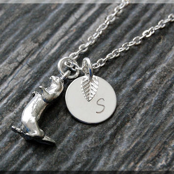Silver Otter Charm Necklace, Initial Charm Necklace, Personalized, Otter Pendant, Sea Otter Jewelry, Monogram Critter Necklace