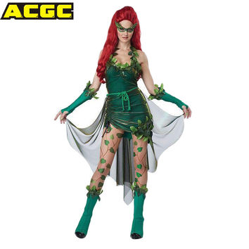 BATMAN Poison Ivy Cosplay Costume With Gloves And Mask Carnival Costume For Woman Fancy Party Masquerade Carnavalskleding Dames
