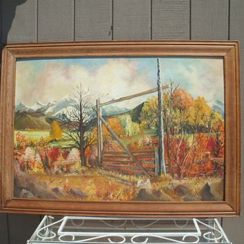 """50"""" Exceptional! Vintage Signed American Western Oil Painting """"Montana Autumn"""""""