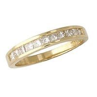 Sparkling Diamond Channel Set Wedding Band 14K Yellow Gold