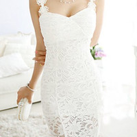 White Strappy Midi Lace Dress