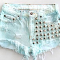 Any Size High Waisted Light Blue Studded Distressed Frayed Dyed Denim Shorts