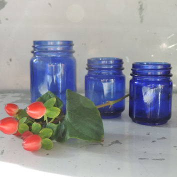 Vintage Cobalt Glass Vicks Jars Set of Three Cobalt Blue Jars Vicks VapoRub Jars Early 1900's to 1960.