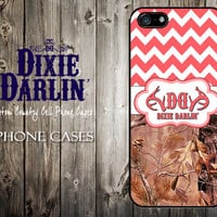 Country Inspired iPhone 4 / iPhone 4S / iPhone 5 / iPhone 5S / iPhone 5C / Cute Dixie Darlin' Phone Case - Coral Chevron & Camo (CP0607)