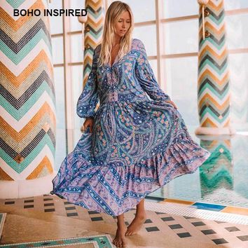 bohemian inspired mixed floral print summer dress long sleeve V-neck button closure boho dresses loose maxi women vestidos 2018