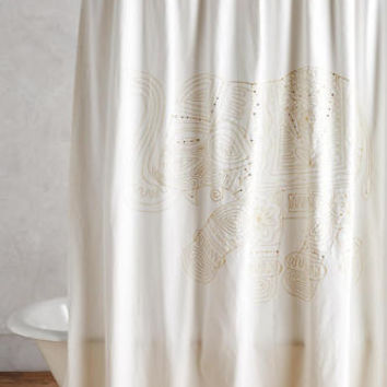 NEW EMBROIDERED ELEPHANT SHOWER CURTAIN White Gold sequins