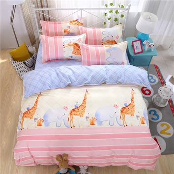 Cartoon Duvet Cover Set Giraffe printing bed set Single Full/Queen/King size 3/4pcs Bed linen Bedclothes bedding sets Kids like