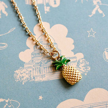 Pineapple necklace/ gold pineapple charm necklace/ quirky necklace