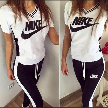 """NIKE"" Fashion Casual Multicolor Print Hooded Short Sleeve Set Two-Piece Sportswear"