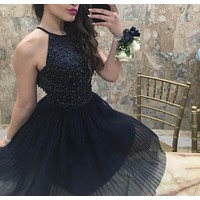 Free Shipping Pretty Halter Purple Keyhole Back Beading Short Prom Dresses Vestido De Festa Girls Party Dress Homecoming Dress W