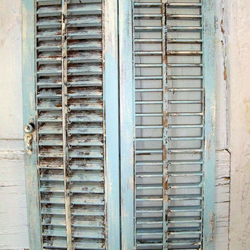 Distressed wooden shutter French blue shabby chic decor Anita Spero