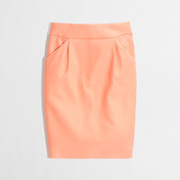 FACTORY PENCIL SKIRT IN DOUBLE-SERGE COTTON WITH PLEATS