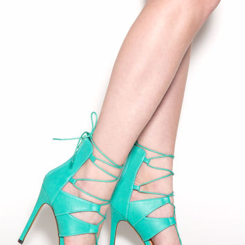 Laced 'N Crossed Faux Leather Heels