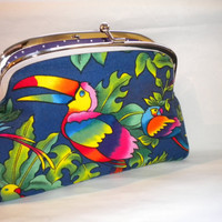 Bright parrot and toucan frame wallet with kiss by PursePoppet