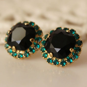 Black and Emerald... Swarovski Crystal... Cushion Cut Diamond... Emerald Halo Square Rhinestone Stud Earrings... Black Earrings