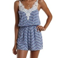Blue Combo Crochet-Trim Tribal Print Romper by Charlotte Russe