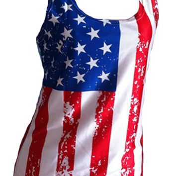 USA Flag Tank Top For Women - Fitted - American Flag Shirt -Red White Blue Clothing Top For Ladies