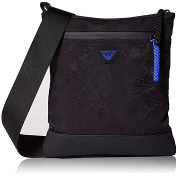 Armani Exchange Men's Jacquard Fabric and Rubberized Pouch Bag