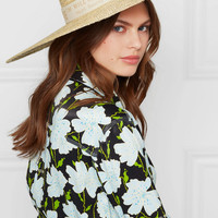 Off-White - Cotton canvas-trimmed straw sunhat