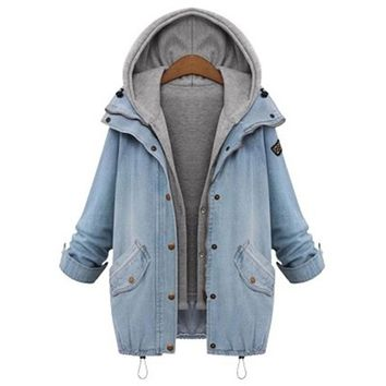 2018 women's jacket plus size blue long-sleeved single-breasted hooded drawstring pocket two-piece denim jacket hat detachable