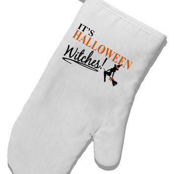 It's Halloween Witches White Printed Fabric Oven Mitt