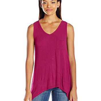 Self Esteem Juniors Front Pocket Lace Back Tank with Necklace