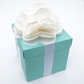 Large Robin Egg Blue & White Ribbon with Flower Gift Box Tiffany Mint Blue with Lid