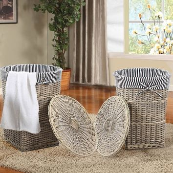 Set of 2 Weathered Woven Laundry Basket with Black & White Striped Liner