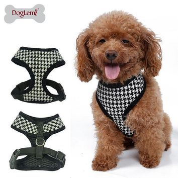 DCK9M2 Adjustable Soft Nylon Mesh Small Dog Harness Vest Plaid Breathable Pet Cat Belt Collar & Leash Walking Safety Strap Clothes