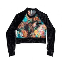 insane jungle SABLE SHEER FLORAL CROPPED VELVET SLEEVE SWEATER - GYPSY JUNKIES - WOMEN'S