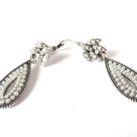 White Silver Tone Earrings, Beaded, Beads, Dangle, Oval Long Earrings