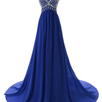 Strapless A-Line Chiffon Beading Prom Dresses